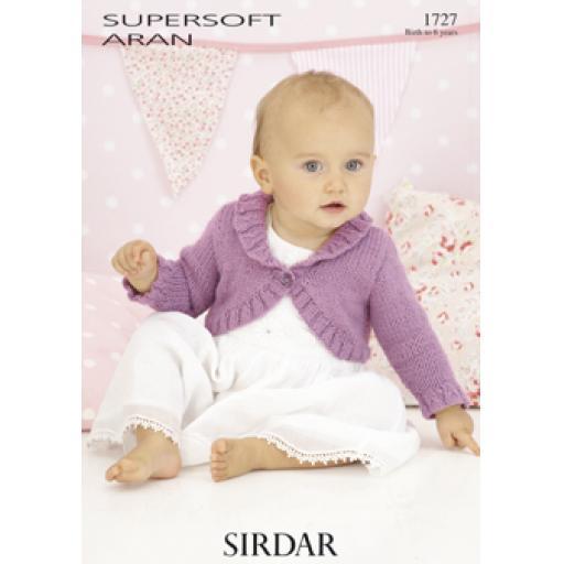 Sirdar 1727: Bolero-style cardigan with ribbed collar