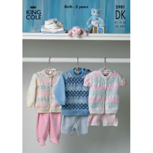 King Cole 2981: Fair isle style jumper, cardigan and vest