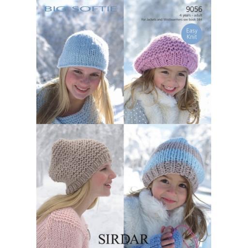 Sirdar 9056: 4 styles of hat in ultra chunky yarn
