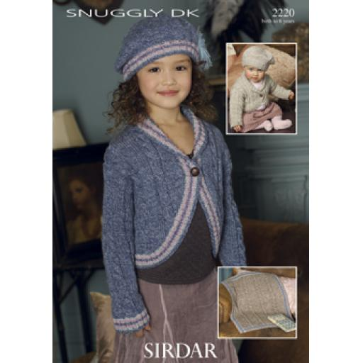 Sirdar 2220: Cabled bolero style cardigan with matching blanket and beret