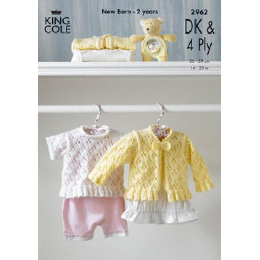 King Cole 2962: Eyelet cardigan and short sleeved top