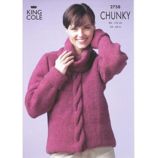 King Cole 2758: Jumper with a chunky cable down the front