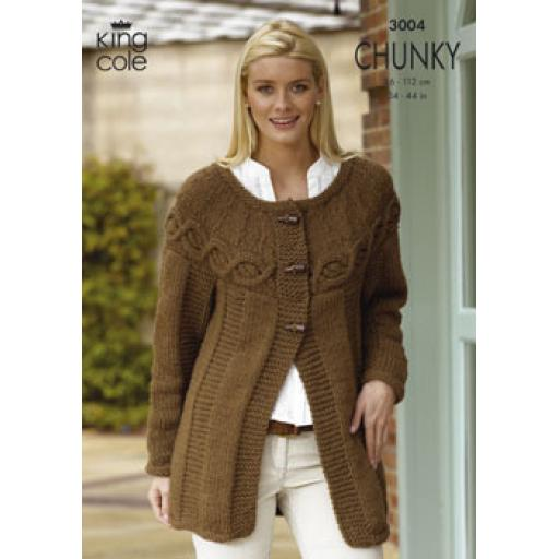 King Cole 3004: Jumper or cardigan with sideways cabled yoke