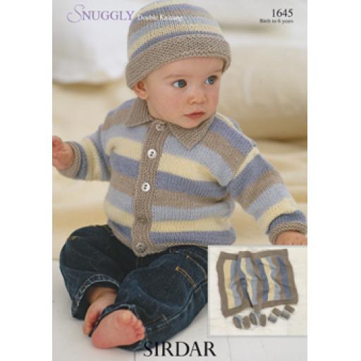 Sirdar 1645: Striped cardigan with collar