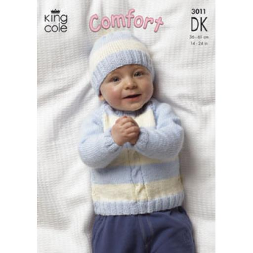 King Cole 3011: Striped set of jumper and cardigans
