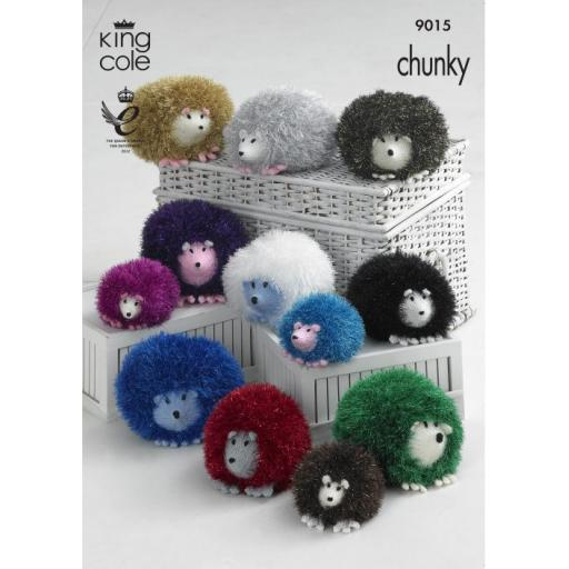 King Cole 9015: Toy hedgehogs pattern in Tinsel Chunky