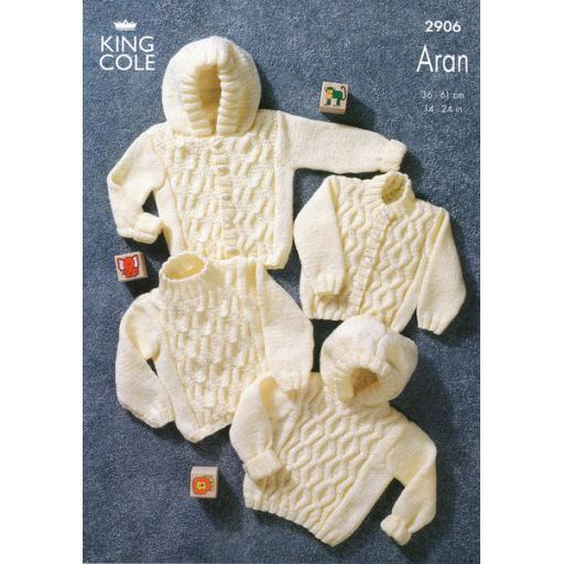 King Cole 2906: Traditional cabled aran jumpers and cardigans with optional hoods
