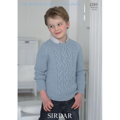 Sirdar 2243: Cabled round necked jumper