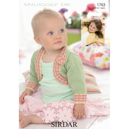 Sirdar 1763: Bolero with striped edging and flower decoration