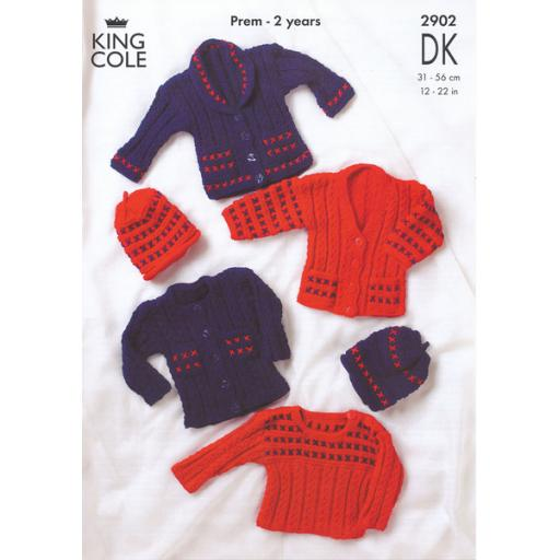 King Cole 2902: Cabled ribbed jumpers, cardigans and hats