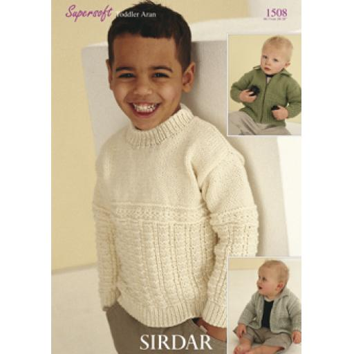 Sirdar 1508: Guernsey style aran jumper with zipped and buttoned cardigan versions