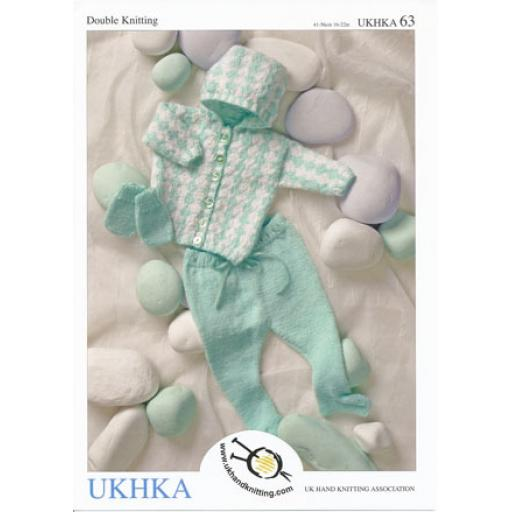 BHK63: Baby's fairisle hooded jacket with leggings and mitts