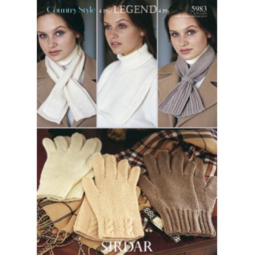 Sirdar 5983: Adult gloves and scarves