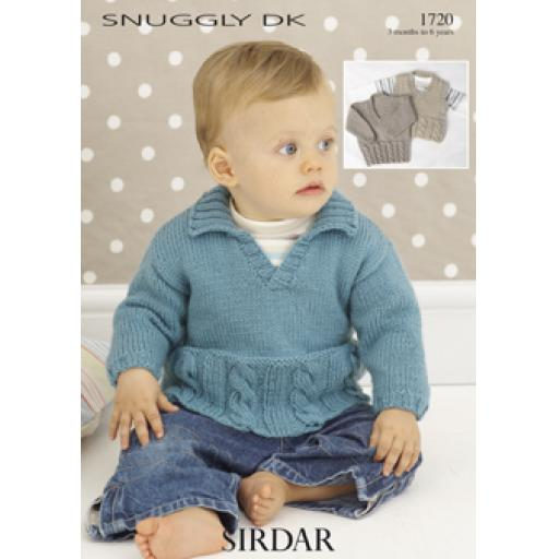 Sirdar 1720: Jumper with either V necked, sleeveless or collared neck