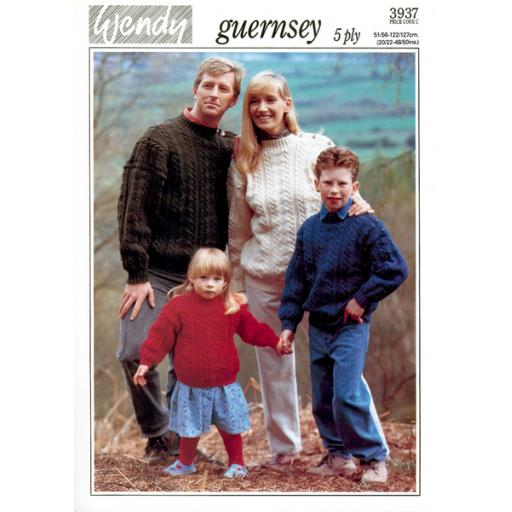 Wendy 3937:Guernsey 5ply cabled jumpers for the family