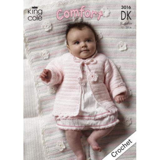 King Cole 3016: Cardigan and blanket crochet pattern with flower decorations