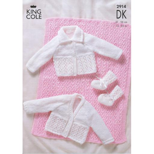 King Cole 2914: Eyelet lace pattern for cardigans, booties and a blanket.