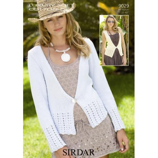 Sirdar 9029: Cardigan with sleeveless waistcoat variation with eyelet lace edging detail