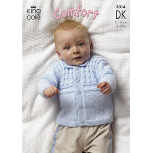 King Cole 3014: Set of cabled jumper, cardigan and vest