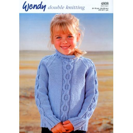 Wendy 4808:Child's raglan cabled sweater