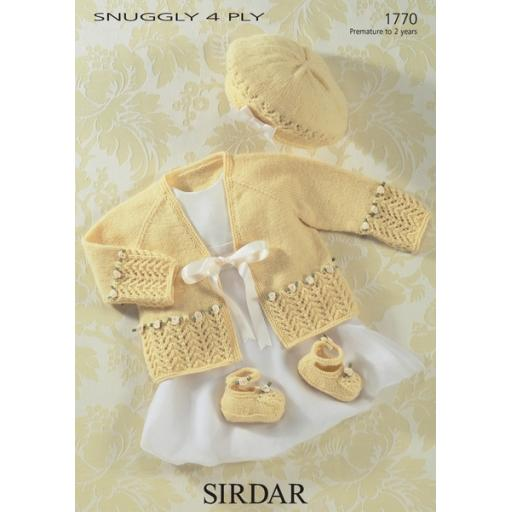 Sirdar 1770: Cardigan, hat and booties set with lacy borders decorated with rosebuds