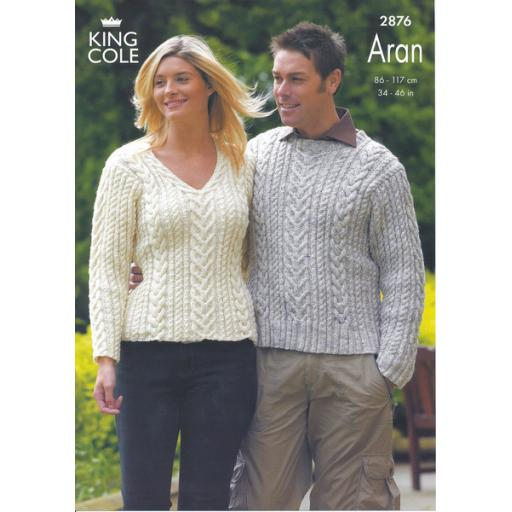 King Cole 2876: Cabled Jumper with round and V necks