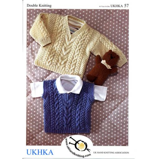Patons BHK57: V neck jumper with sleeveless vest version