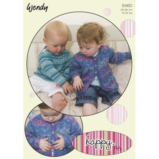 Wendy 5460: Baby Jumper and Cardigan in self-striping yarn