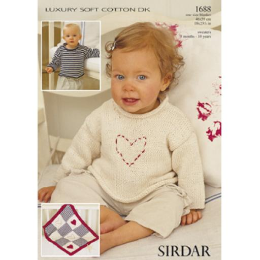 Sirdar 1688: Roll necked jumper in plain or striped versions