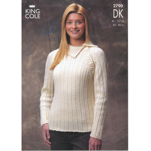 King Cole 2790: Ribbed jumpers with buttoned side opening