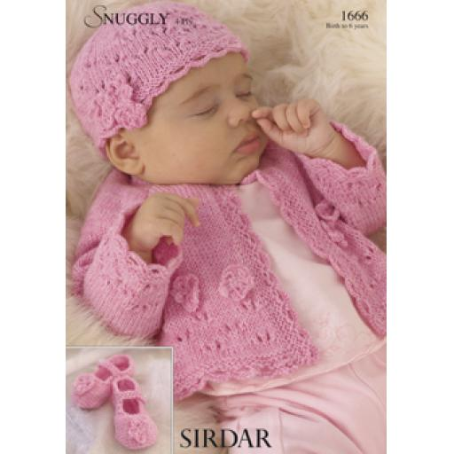 Sirdar 1666: Cardigan with matching hat and booties with lacy details and flower decorations