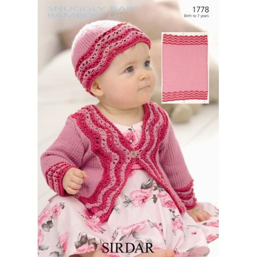 Sirdar 1778: Cardigan with striped knitted chevron edging