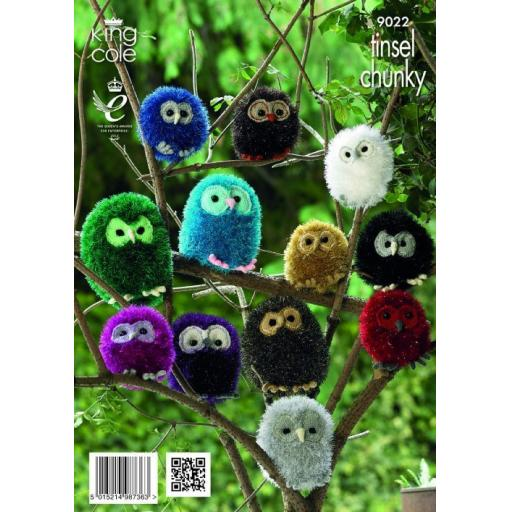 King Cole 9022 Tinsel Chunky Owls Pattern