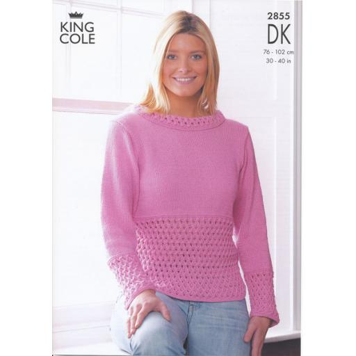 King Cole 2855: Two jumpers with sleeveless versions