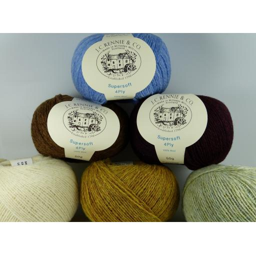 JC Rennie Supersoft Lambswool 4ply - 50g