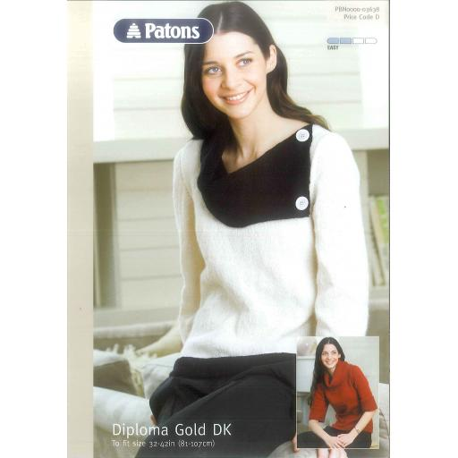 Patons 3638: Jumper with a wide, asymmetric buttoned collar