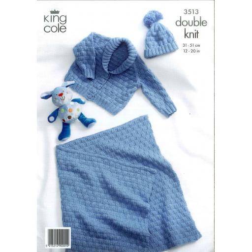 King Cole 3513: Raglan sleeve basketweave jumper, hat and blanket