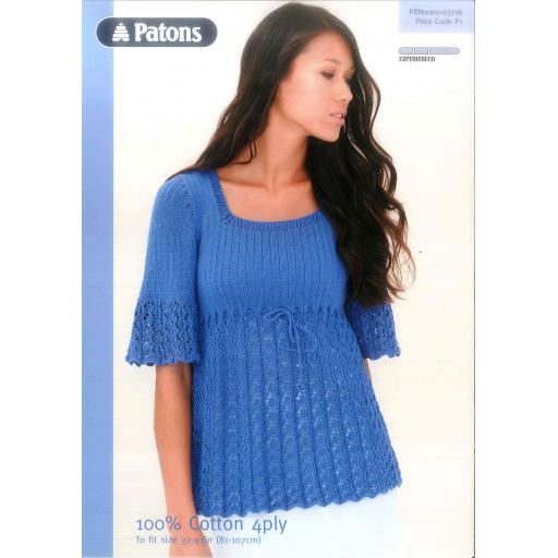 Patons 3716: Ladies lacy empire line top