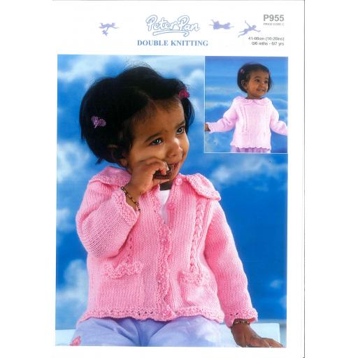 Wendy P955: Girls' cardigan or sweater with collar and lace edging
