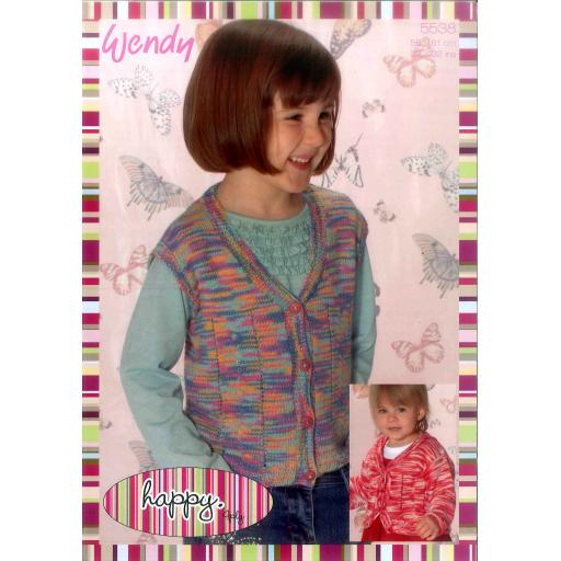Wendy 5538:Child's cardigan and waistcoat in Happy 4ply
